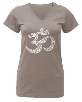 """Yogi-T-Shirt """"OM"""" - taupe L"""