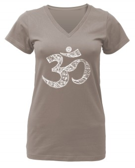 "Yogi-T-Shirt ""OM"" - taupe XL"
