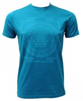 "Yoga-T-Shirt ""Sri Yantra"" - men - petrol S"