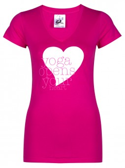 """Yoga-T-Shirt """"yoga opens your heart"""" - pink"""