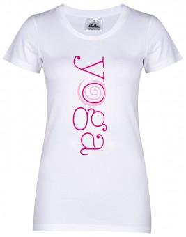 "Yoga-T-Shirt ""yoga"" - weiß S (mit V-Ausschnitt)"