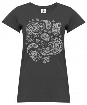 "Yoga-T-Shirt ""paisley"" - darkgrey"