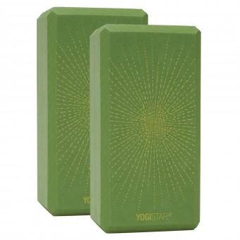 Yogablock yogiblock® basic - art collection - sparkling sunray - kiwi - 2er-Set