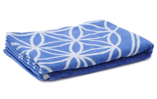 Baumwolldecke Blume des Lebens - blau