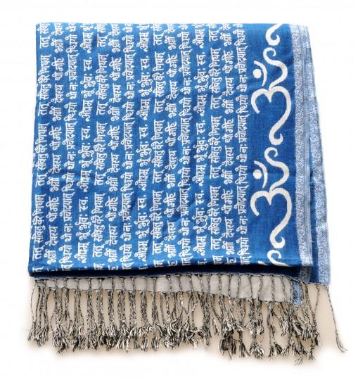 Meditationsschal - Mantra - blau/beige