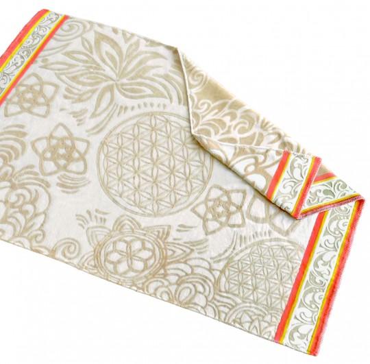 Plaid-Decke aus Baumwolle - naturbeige/sunset