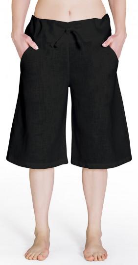 Bermuda-Leinenhose - schwarz