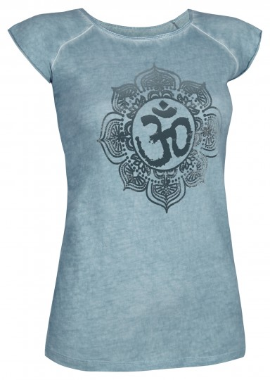 "Yoga T-Shirt ""Pigment dyed OM"" - hellblau"