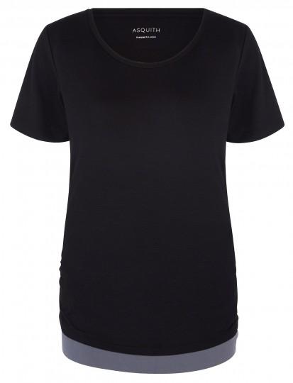 "Yoga-T-Shirt ""bend it"" - black/deep grey"