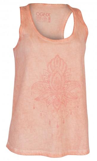 "Yoga-Tank-Top ""pigment dyed Lotus"" - coral"