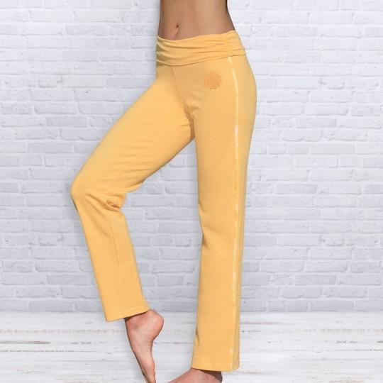 """Yogahose mit Umschlagbund """"Sonnengruß"""" - yellow"""