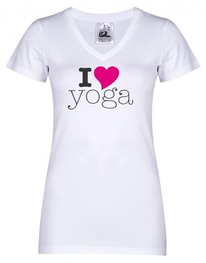 "Yoga-T-Shirt ""I love yoga"" - weiß"