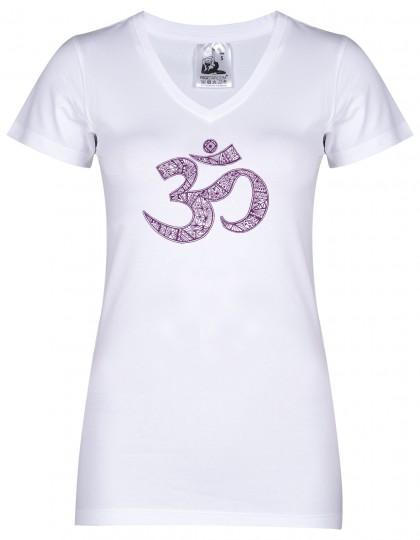 """Yoga-T-Shirt """"OM"""" - white"""