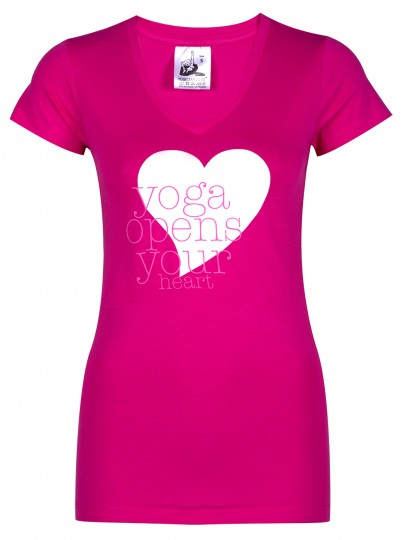 "Yoga-T-Shirt ""yoga opens your heart"" - pink"