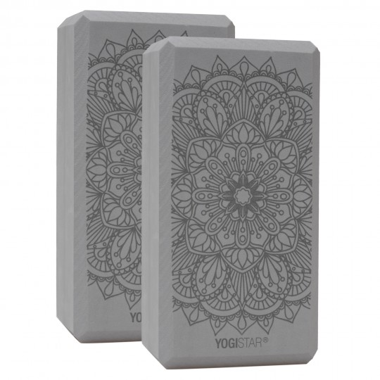 Yogablock yogiblock® basic - art collection - lotus mandala - graphit - 2er-Set
