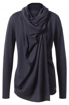 Lange Wickel-Jacke aus Merinowolle - nightblue-melange