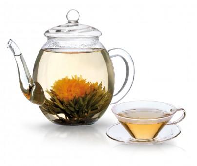 Glas-Teekanne für Erblüh-Tees
