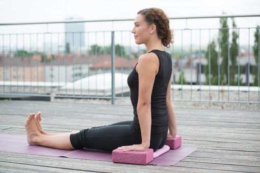 Yoga block 'Indian flower', wine red