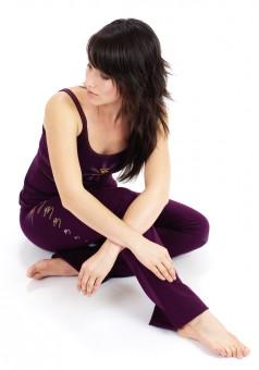 "Yoga pants - hand painted ""OM"" - burgundy"