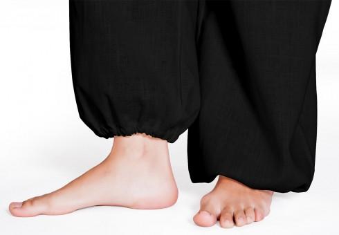 Leinenhose mit Gummiband - schwarz