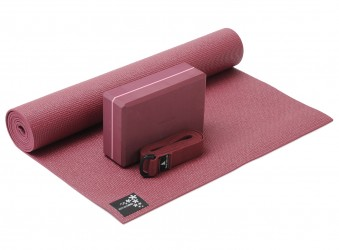 Yoga-Set kick it - one (Yogamatte + Yogablock + Yogagurt) bordeaux