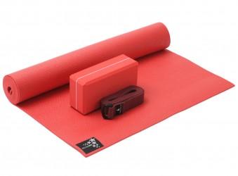 Yoga-Set kick it - one (Yogamatte + Yogablock + Yogagurt) fire red