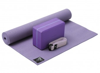 Yoga-Set Kick-It - One (Yoga mat + yoga block + yoga belt) flieder