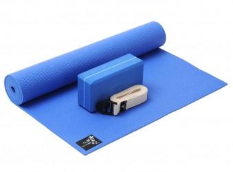 Yoga-Set kick it - one (Yogamatte + Yogablock + Yogagurt) blue