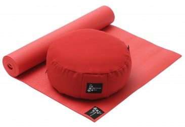 Yoga-Set Starter Edition - Meditation (Yoga mat + Cushion) red