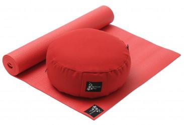 Yoga-Set Starter Edition - Meditation (Yogamatte + Kissen) red