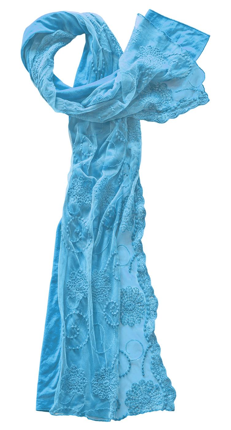 Schal Baumwolle mit besticktem Spitzentüll
