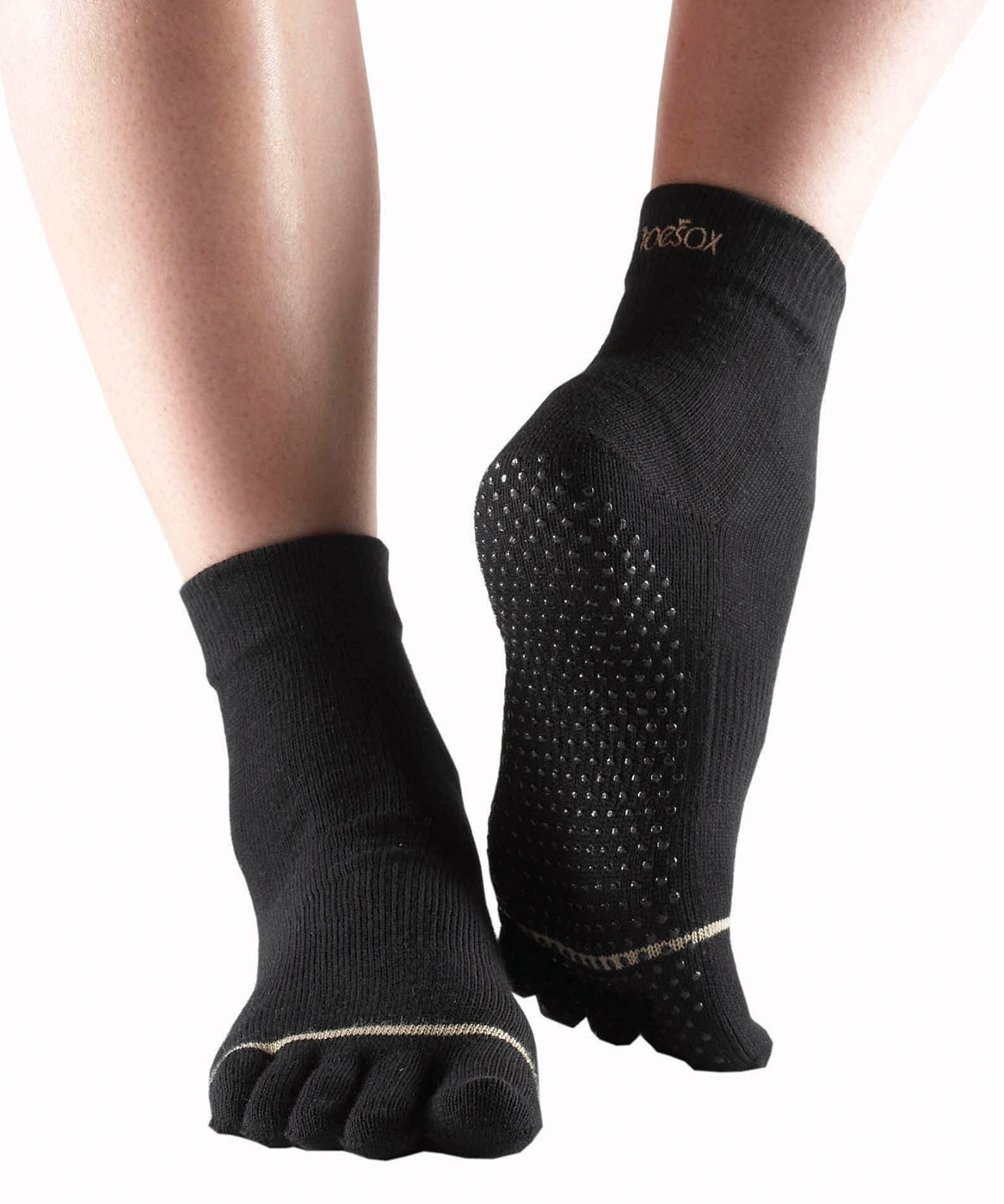 "Toe Socks ""ANKLE"", closed, black"
