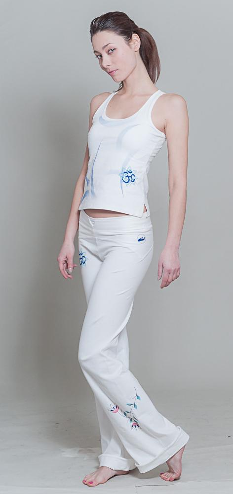 OM Shanti Yoga pants - white