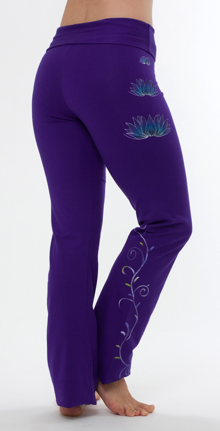 "Yoga pants - hand painted ""Lotus"", purple"