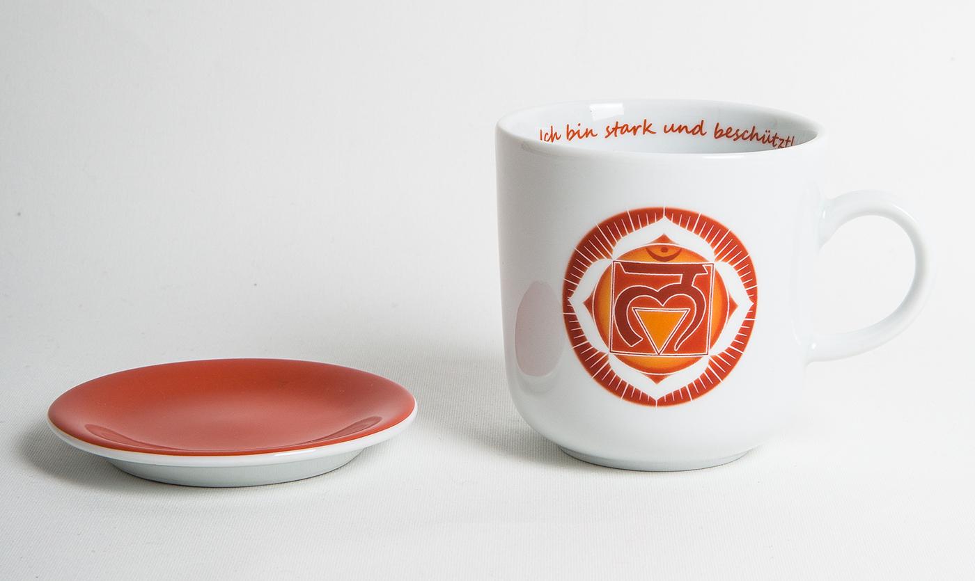 Chakra-Tasse aus Porzellan mit Unterteller