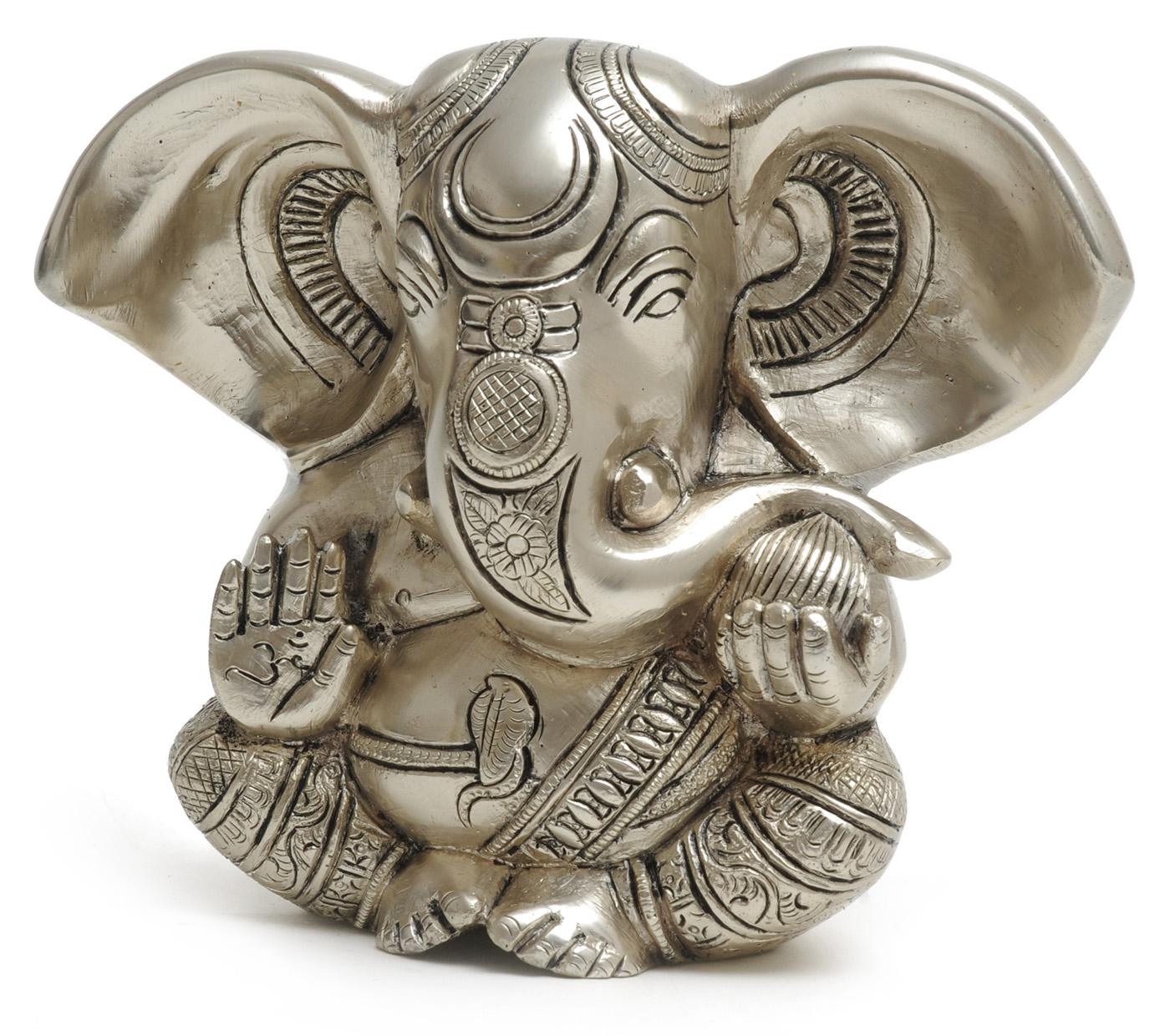 Ganesha-Statue versilbert, 13 cm