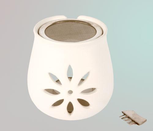 Räucherstövchen Blume, aus Ton mit Sieb