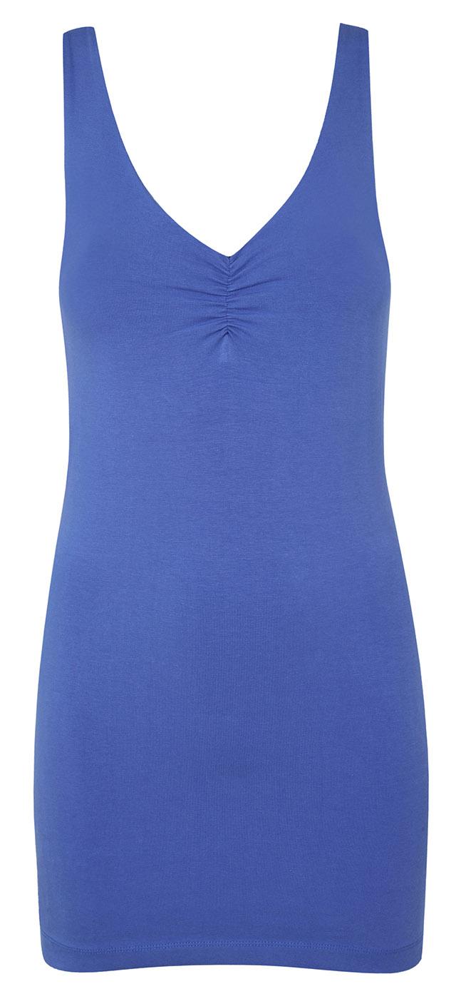 Longline top with bra, cornflower top/slate bra