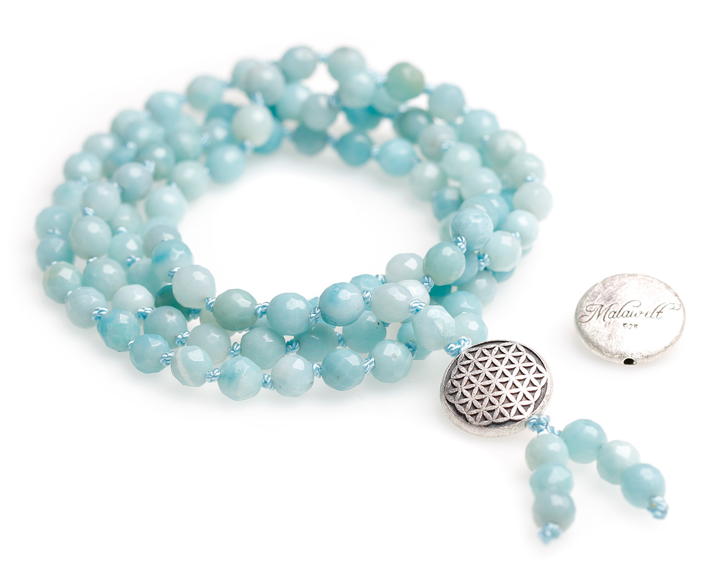 Mala chain made of amazonite (with flower of life silver)