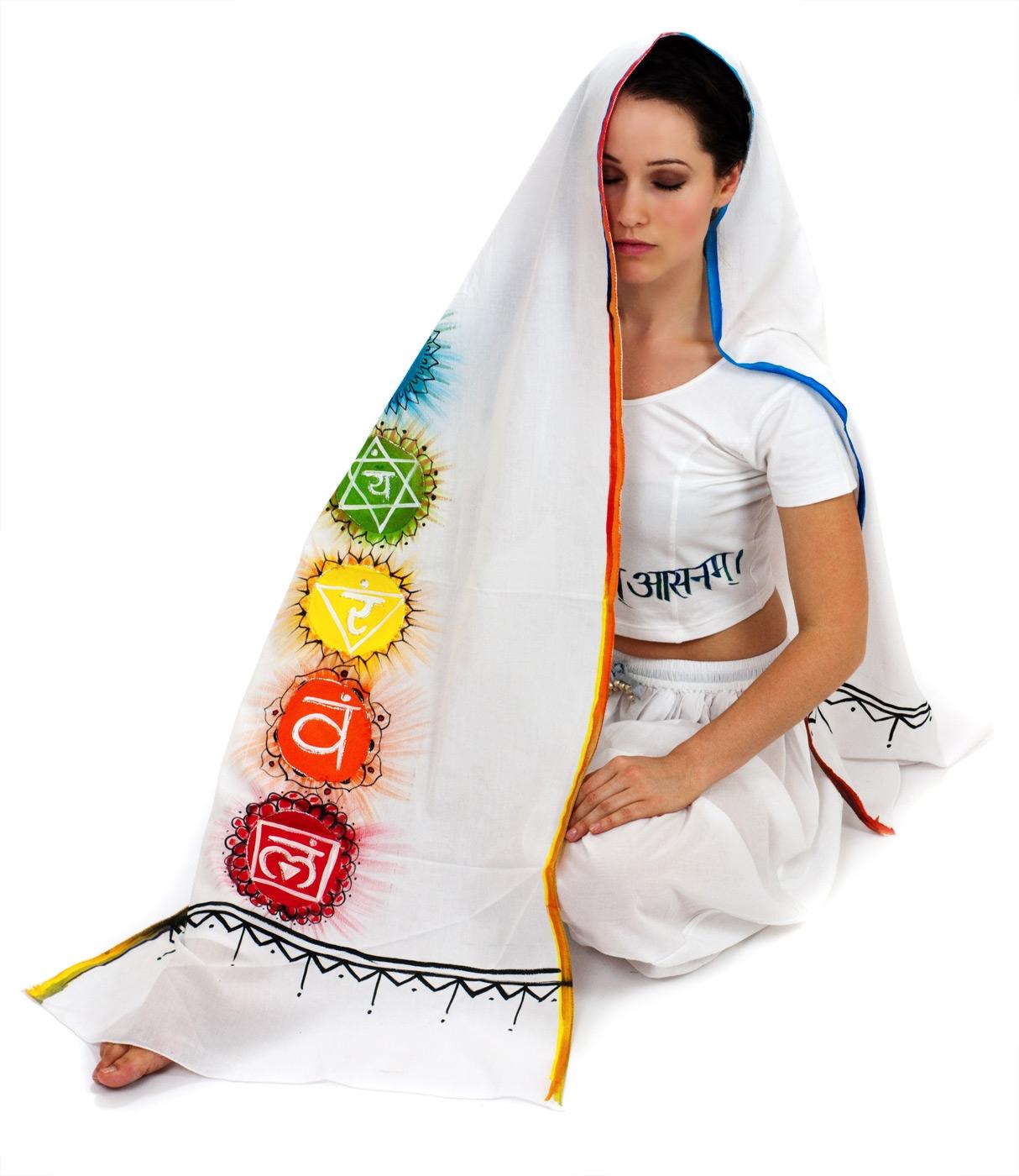 Meditationsumhang Chakra - weiß