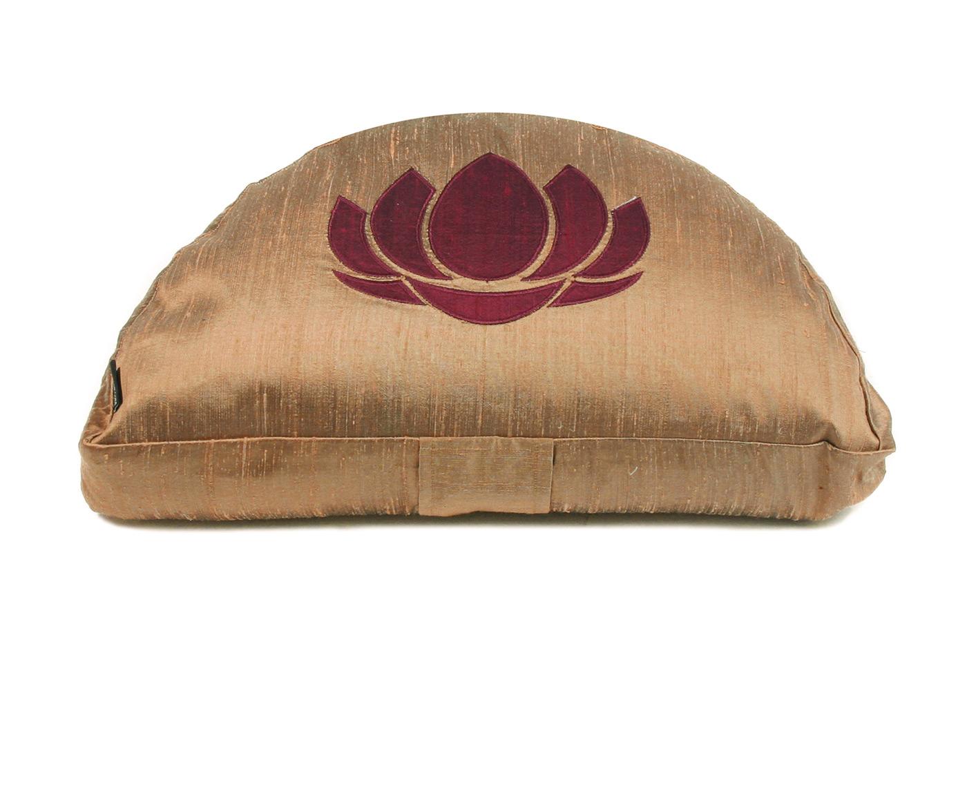 2. Wahl Meditationskissen - Halbmond - goldbraun - Lotus