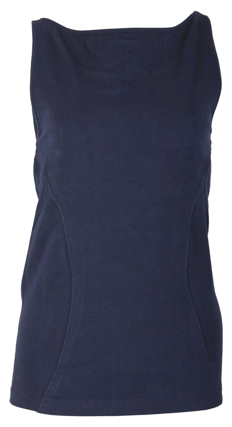 Yogi boatneck top with bra, navy - Yogistar by Asquith