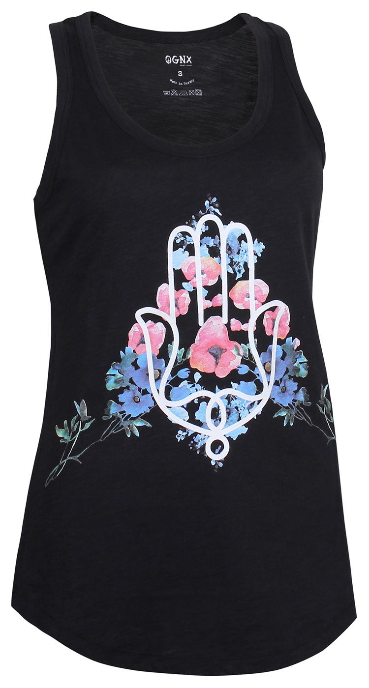 "Yoga Tank-Top ""Hamsa Flower"" - black"