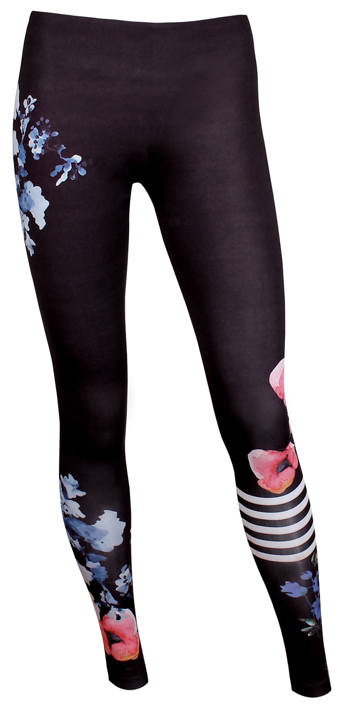 "Yoga Sport Leggings ""Flower"" - schwarz"
