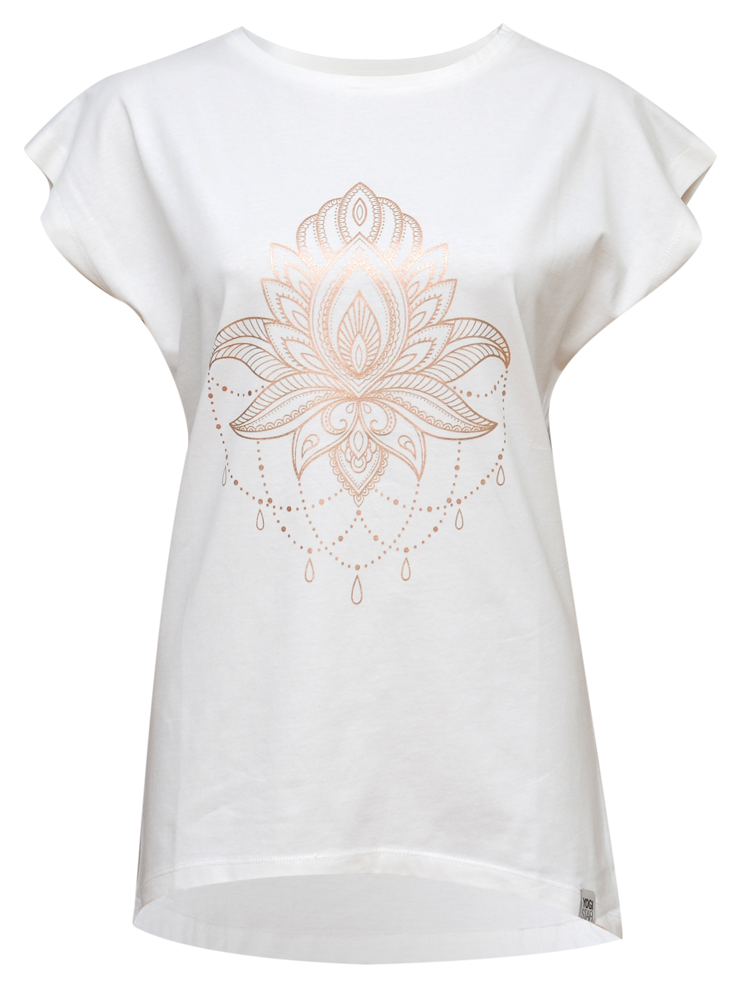 "Yoga-T-Shirt Batwing ""celestial flower"" - ivory/copper"