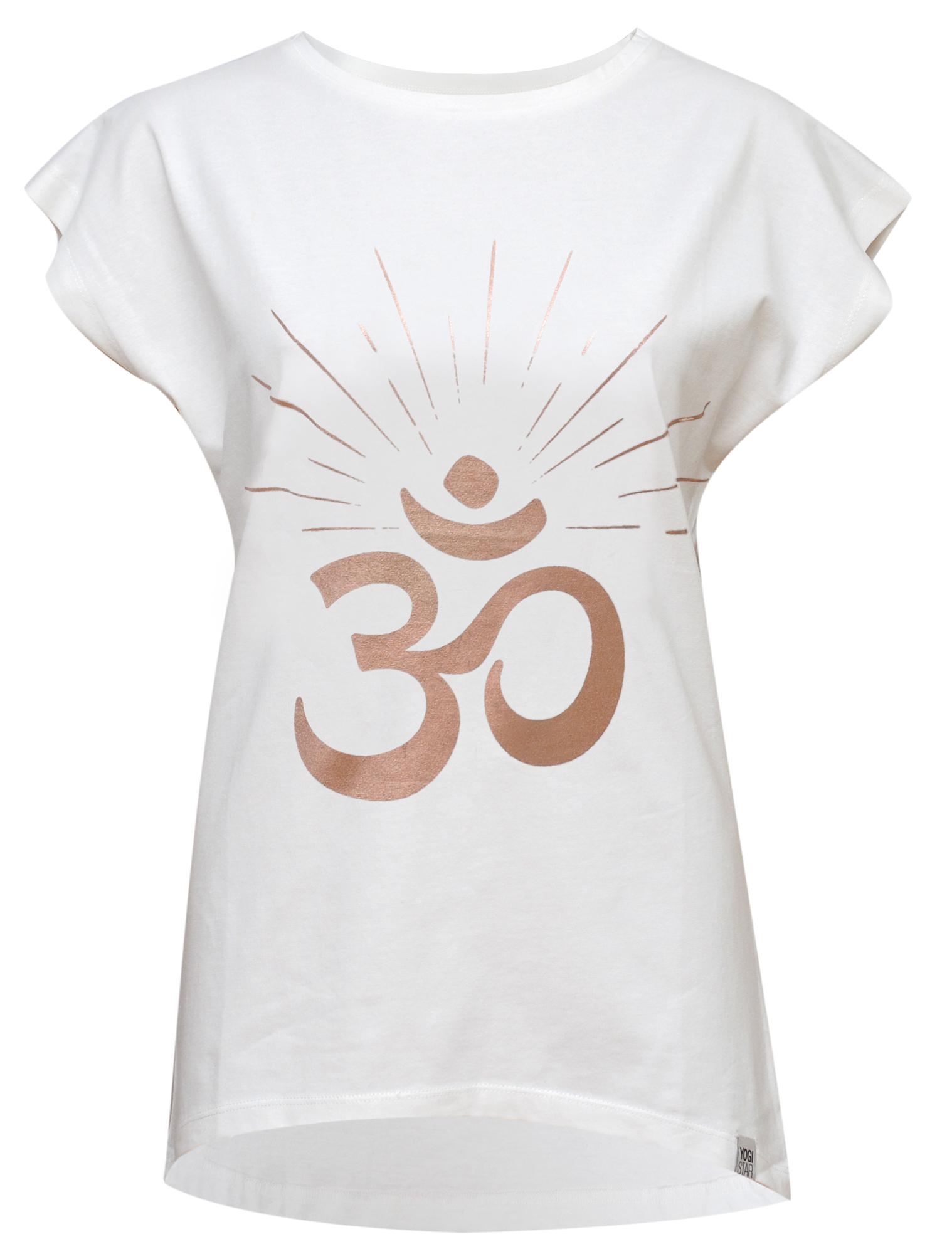 "Yoga-T-Shirt Batwing ""OM sunray"" - ivory/copper"
