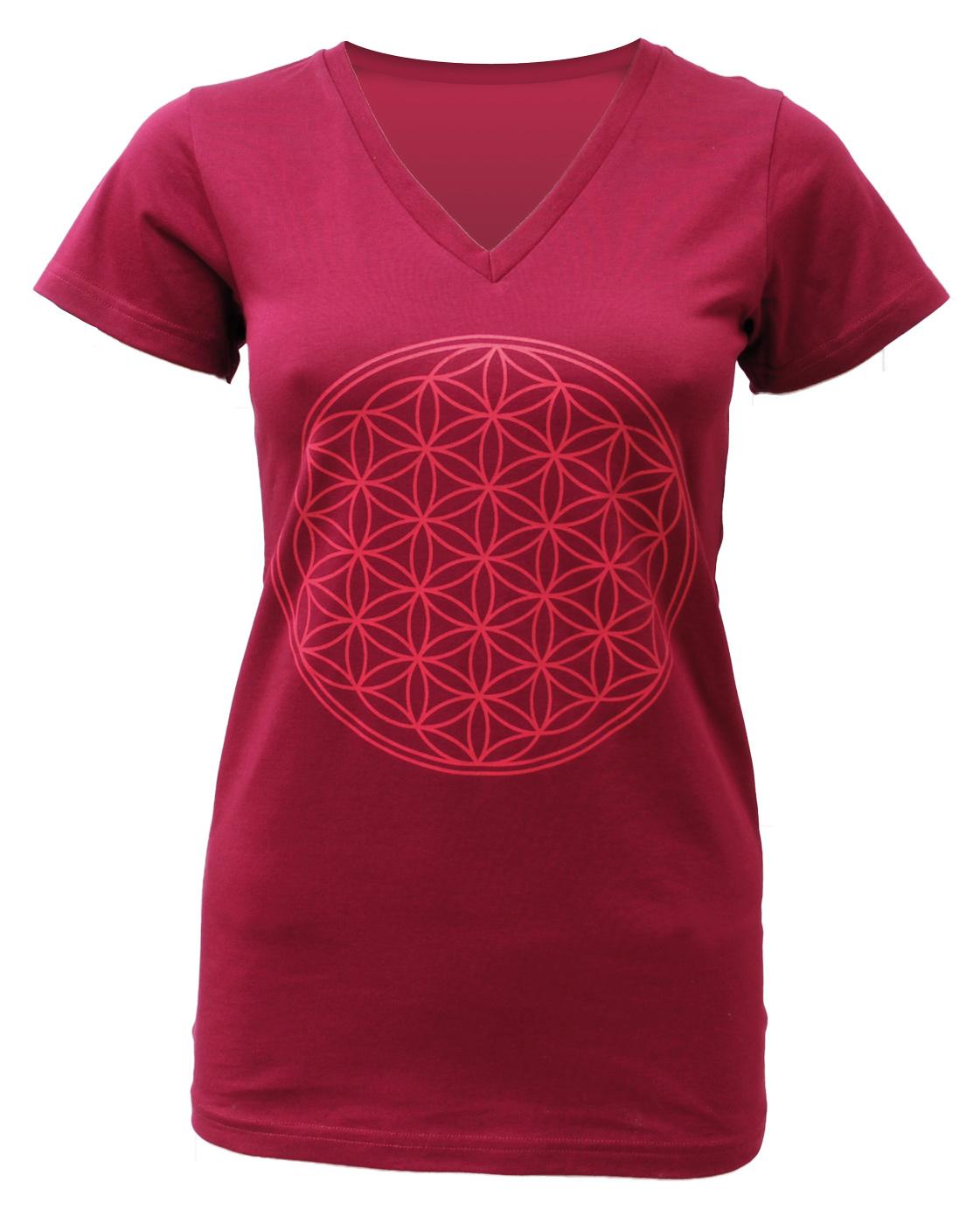 "Yoga-T-Shirt ""Flower of Life"" - bordeaux"