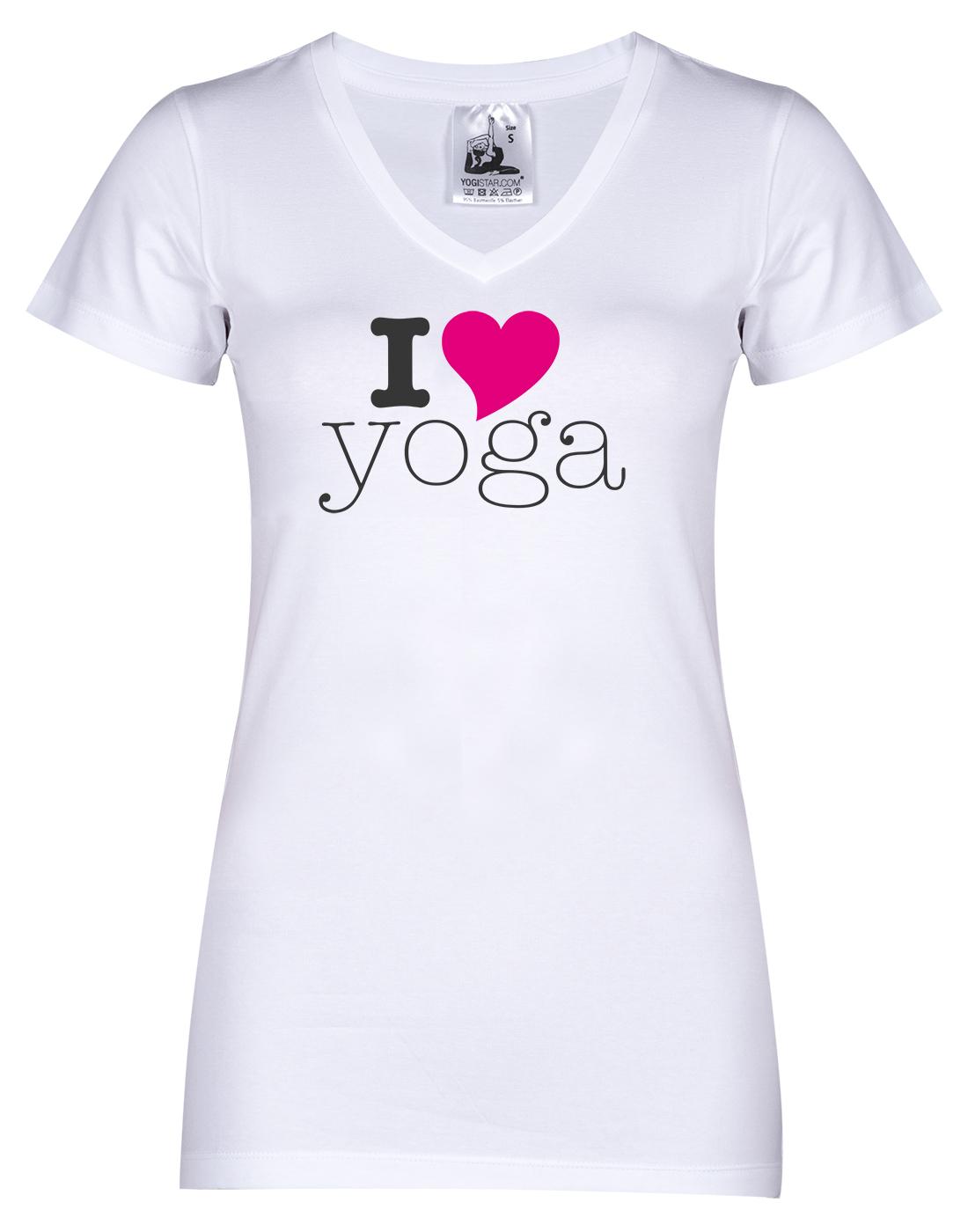 "Yogi-T-Shirt ""I love yoga"" - weiß"
