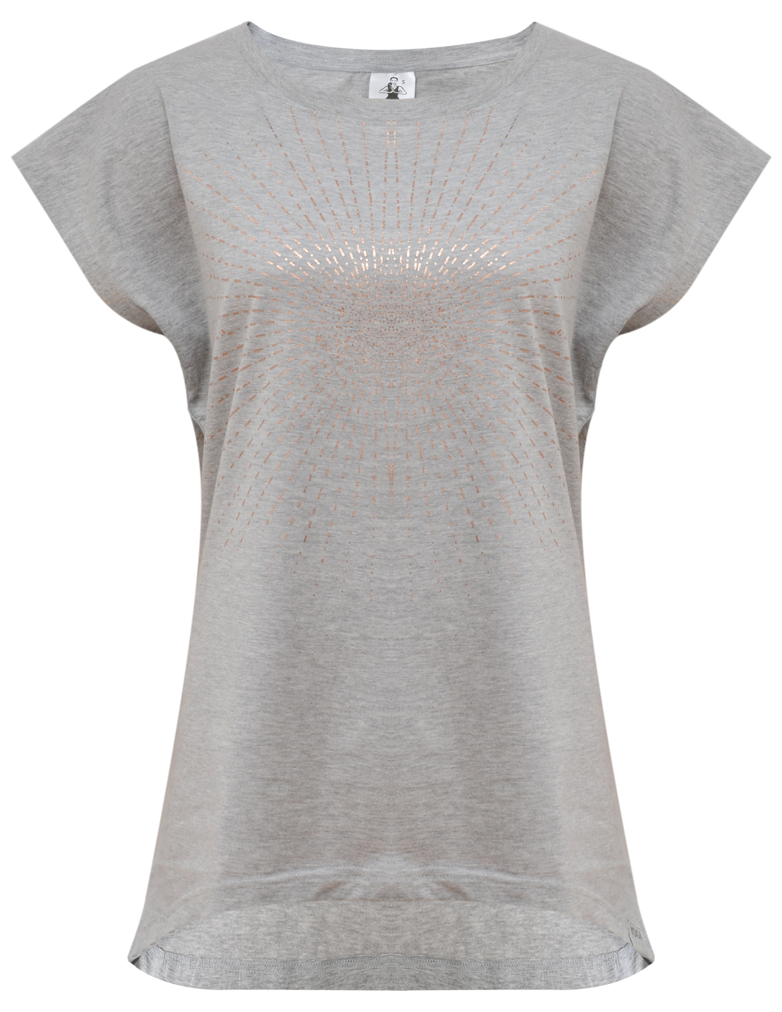 "Yoga-T-Shirt ""Batwing sunray"" - grey/copper"