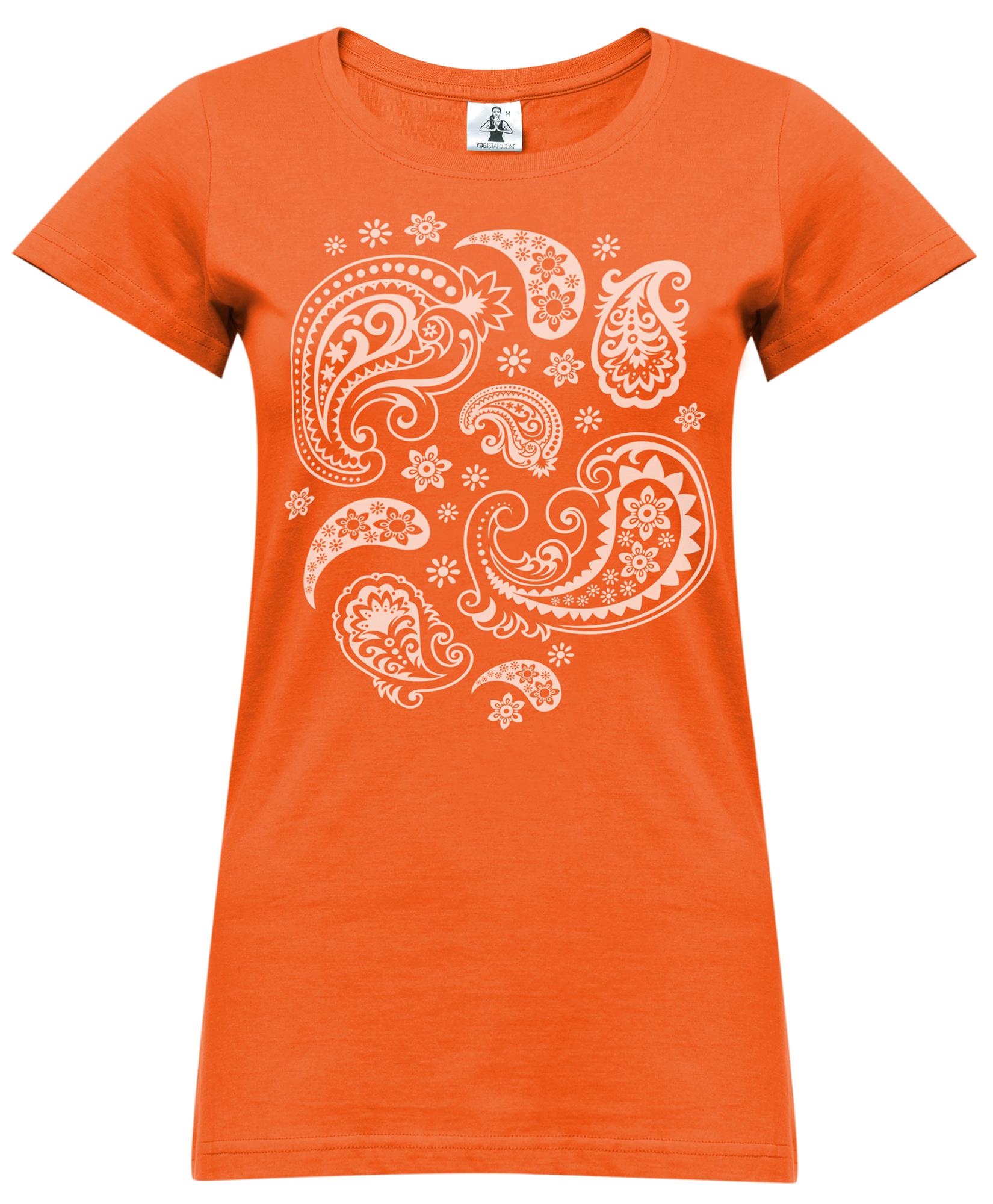 "Yoga-T-Shirt ""paisley"" - orange"